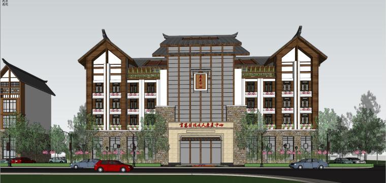 土家族风格康复中心建筑模型设计