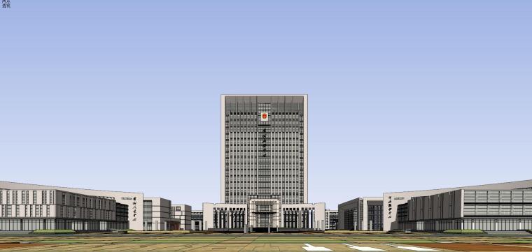 现代风格行政政府办公楼建筑模型