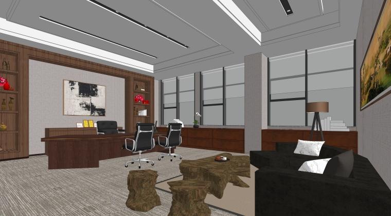 现代风格办公空间室内SU模型设计(4)