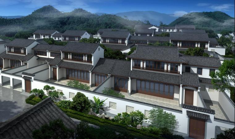 桃花源中式别墅建筑模型设计