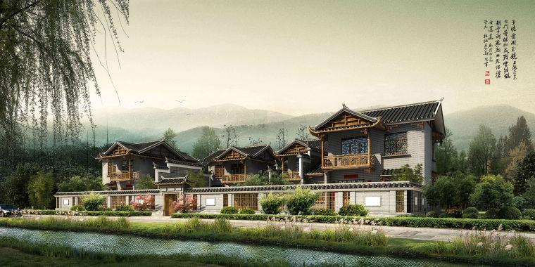 中式风格民居四合院建筑模型