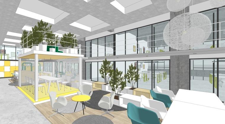 现代风格办公空间室内SU模型设计(1)