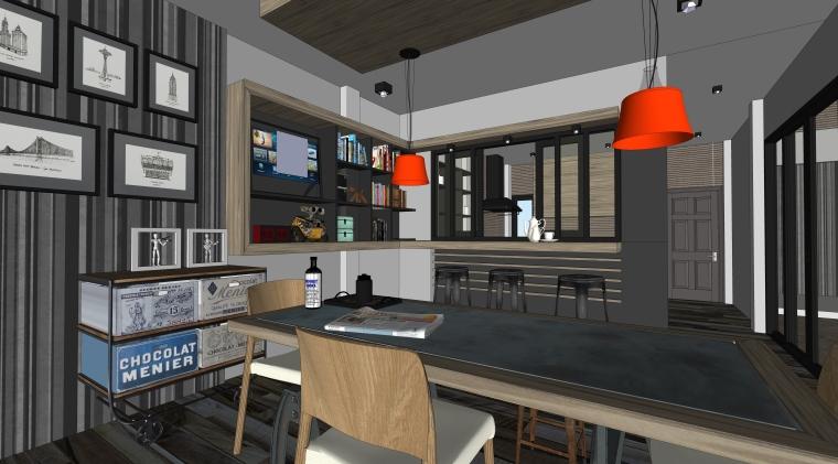 现代风格餐饮空间室内SU模型设计(3)