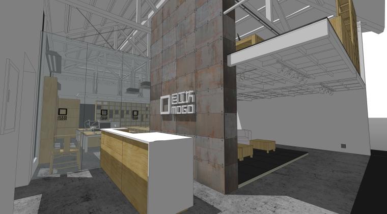 现代风格办公空间室内SU模型设计(2)