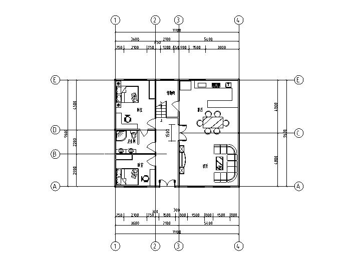 绿色节能美式户型图(CAD)