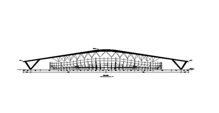 体育场升级改造钢结构施工图2016-钢结构正立面图