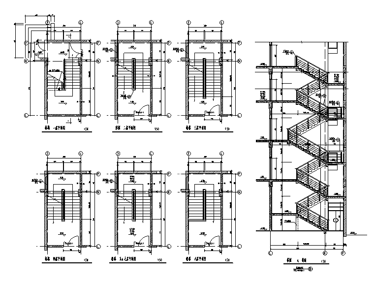 楼梯电梯坡道详图(CAD)