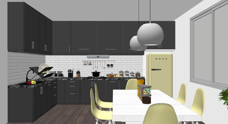 欧式风格厨房空间室内SU模型设计(2)