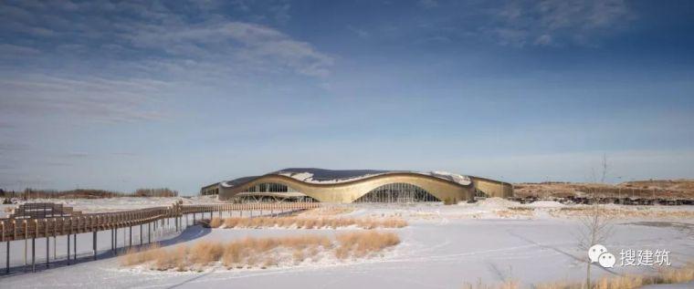 弧形是体育中心,大面积玻璃和弯曲木屋顶连