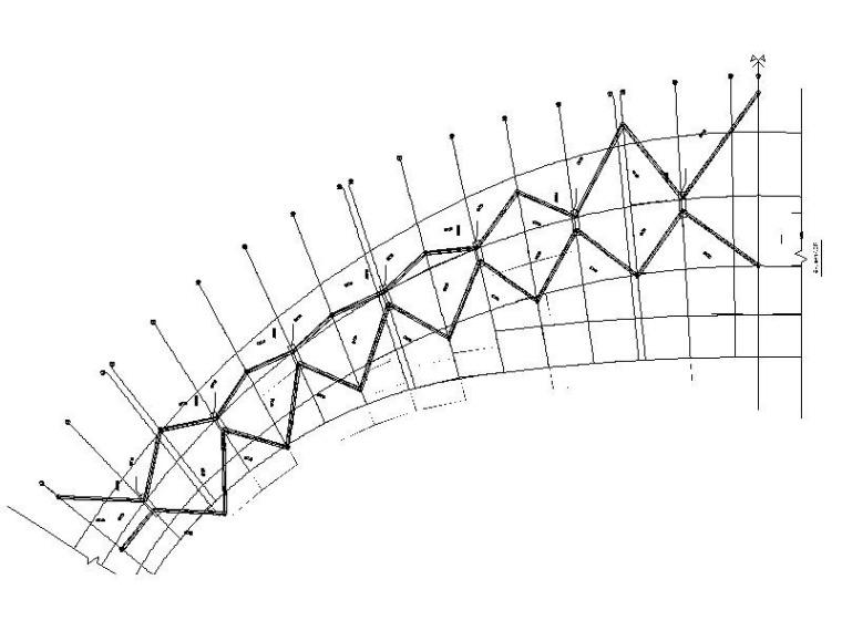 体育场升级改造钢结构施工图2016-看台V撑平面布置图