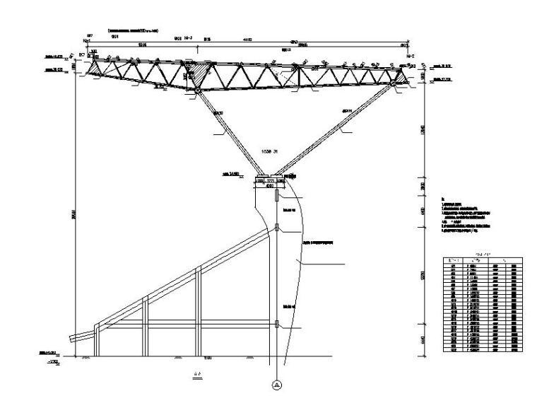 体育场升级改造钢结构施工图2016-屋盖剖面图