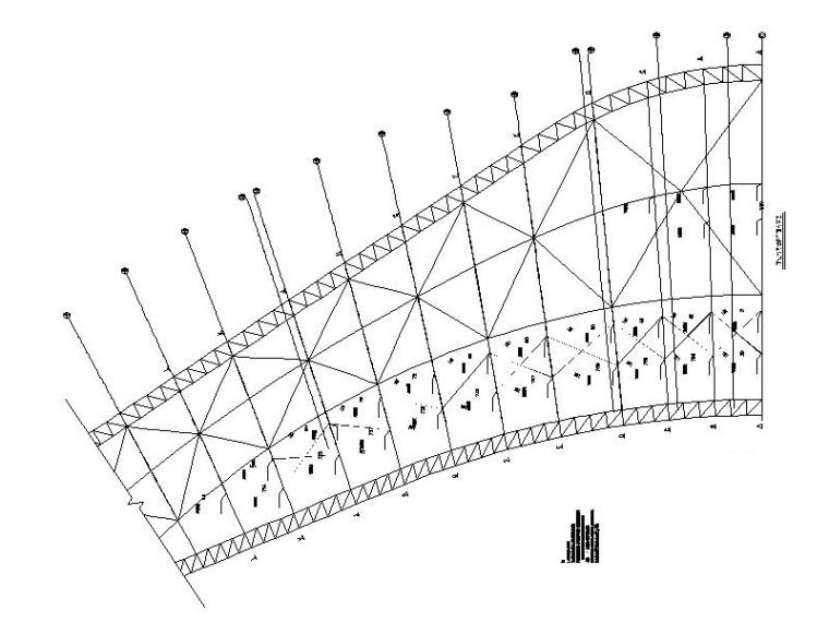 体育场升级改造钢结构施工图2016-预应力硬拉杆平面布置图