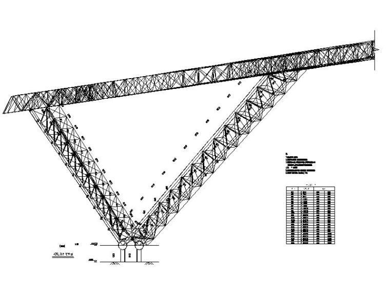 体育场升级改造钢结构施工图2016-落地V撑剖面图