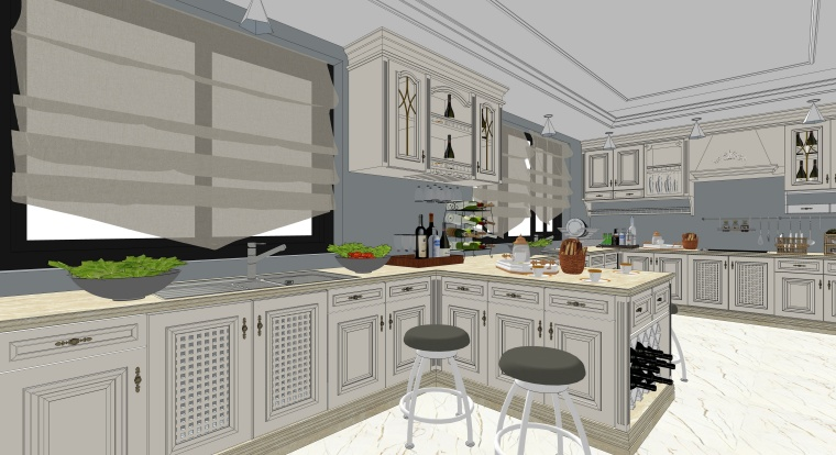 欧式风格厨房空间室内SU模型设计(7)
