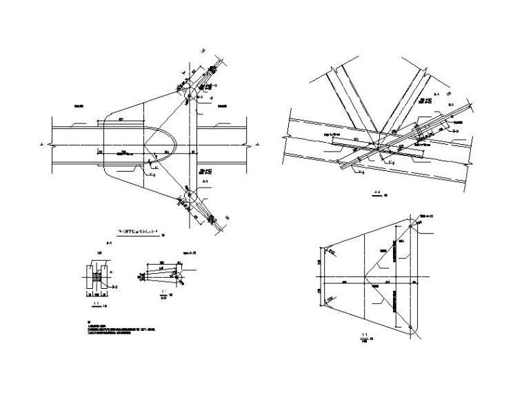 体育场升级改造钢结构施工图2016-硬拉杆下弦锚固节点大样图