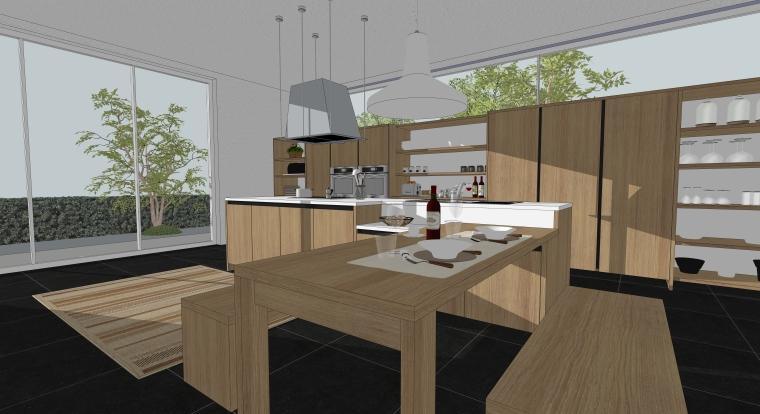 欧式风格厨房空间室内SU模型设计(3)