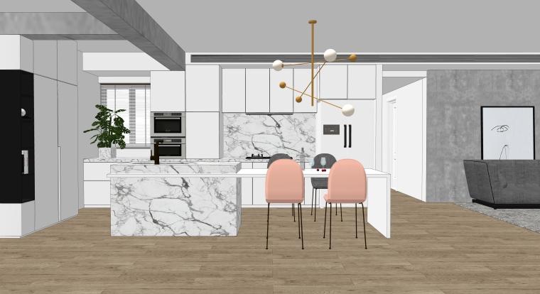 欧式风格厨房空间室内SU模型设计(1)