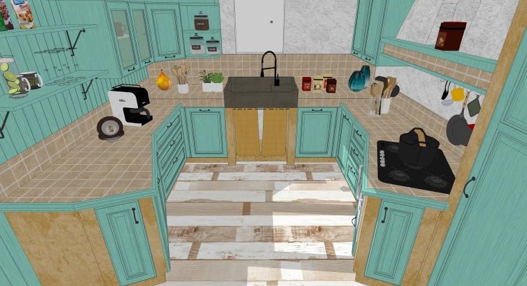 欧式风格厨房空间室内SU模型设计(6)