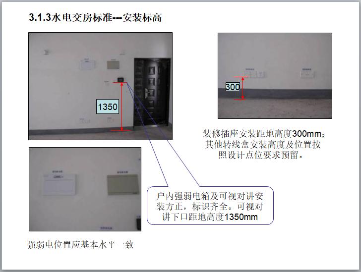 水电交房标准---安装标高
