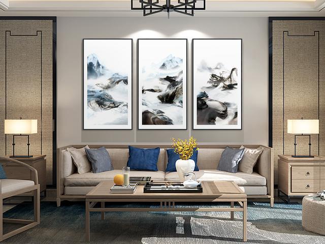 新中式水墨风室内装饰画高清原图素材