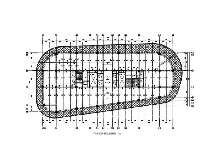 框筒結構橢形創意產業園建筑結構施工圖