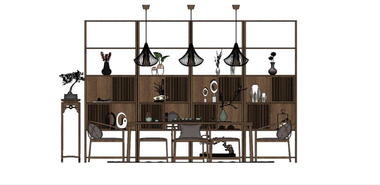 室内装饰摆件餐桌SU模型设计(5)