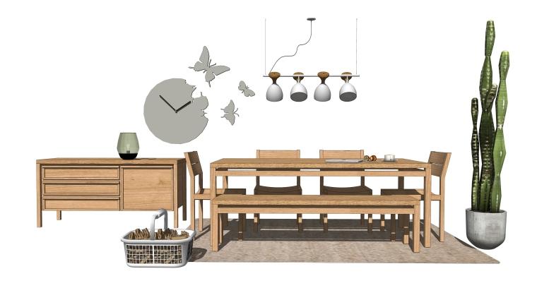 室内装饰摆件餐桌SU模型设计(4)