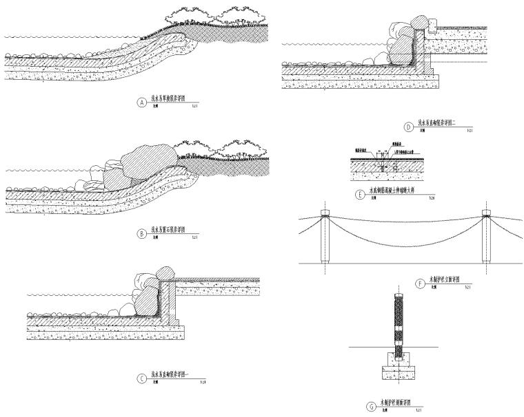 水系驳岸通用做法CAD施工图图