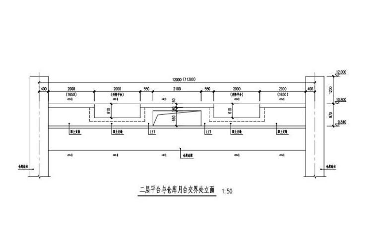 二层平台与仓库月台交界处立面