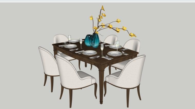 室内装饰摆件餐桌SU模型设计(1)