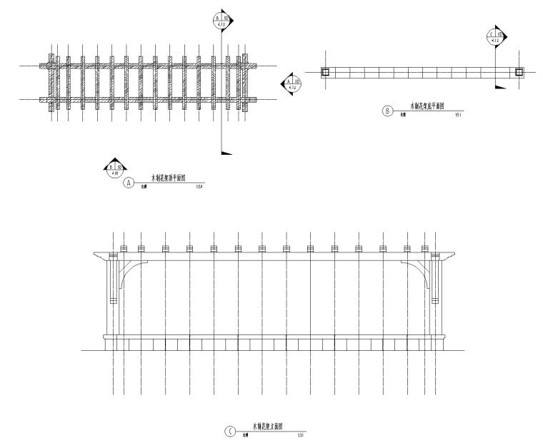木制花架CAD施工详图