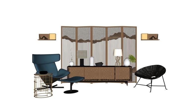 室内装修常用边柜、玄关SU模型设计(6)