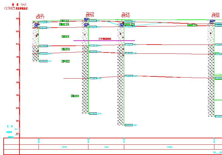 71 2#塔吊对应勘察点:ZK24(塔吊基础底高程为56.54)