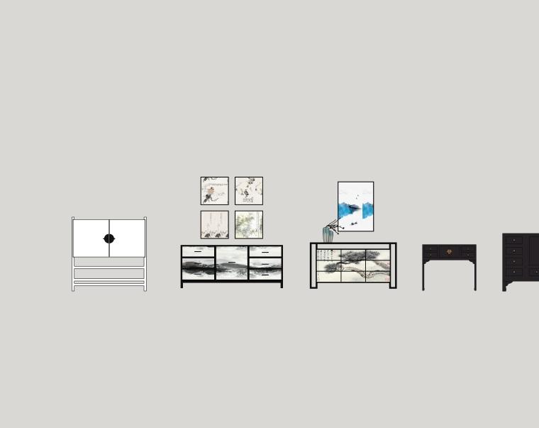 室内装修常用边柜、玄关SU模型设计(2)