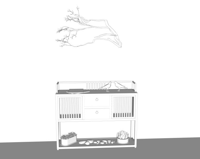 室内装修常用边柜、玄关SU模型设计(4)