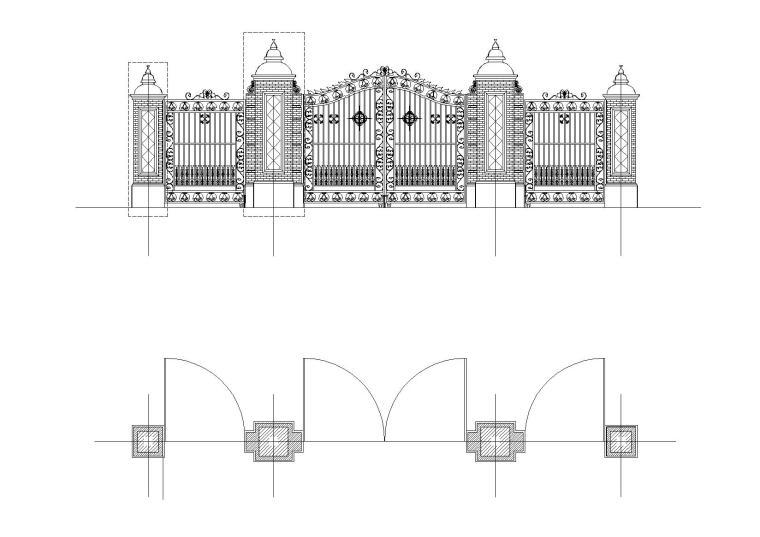 某公园大门建筑及结构(青砖柱)