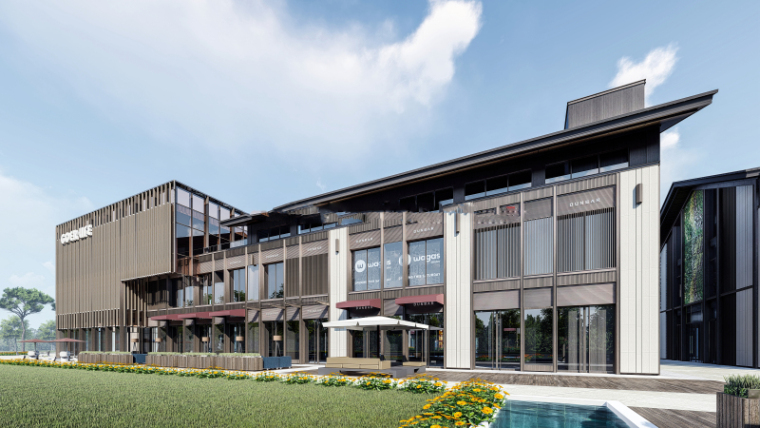 新中式风格商业街建筑模型设计