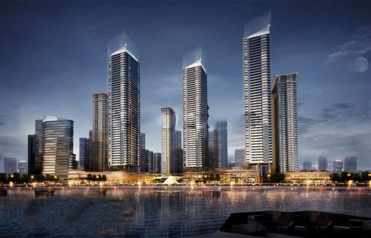 [湖北]现代风格国际金融城滨江综合体建筑