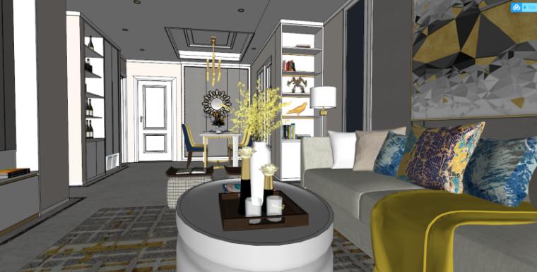 后现代风格港式客厅室内模型设计