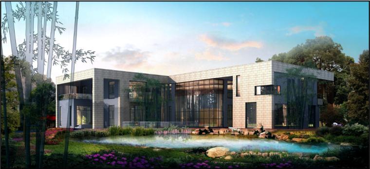 北京湖心岛别墅深化设计方案+效果图+彩屏图