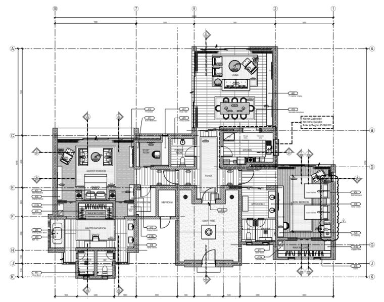 [三亚]五星度假酒店室内装修施工图+物料书
