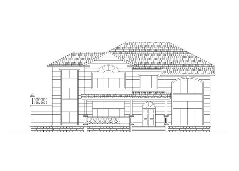 单家独院式二层别墅建筑施工图