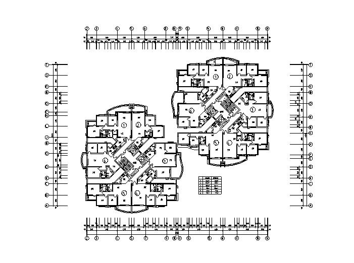 1梯6户高层住宅户型平面图
