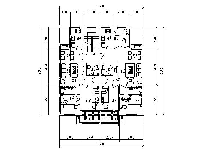 多层高层一梯两户独户户型设计图