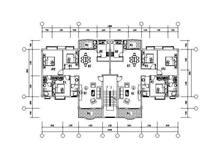 1梯多户户型平面图3