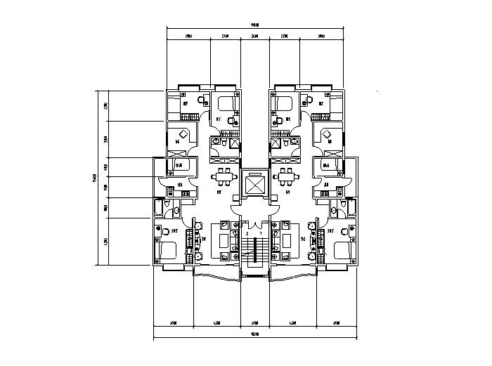 1梯多户户型平面图5