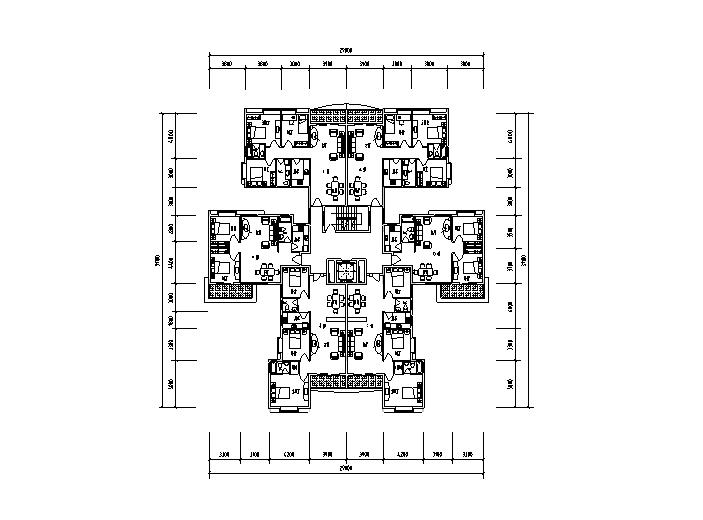 60种1梯多户小高层户型平面图(CAD)