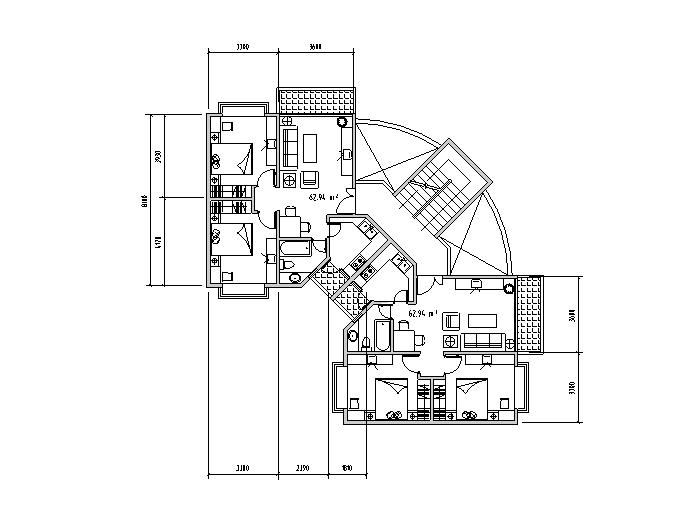 1梯多户户型平面图2