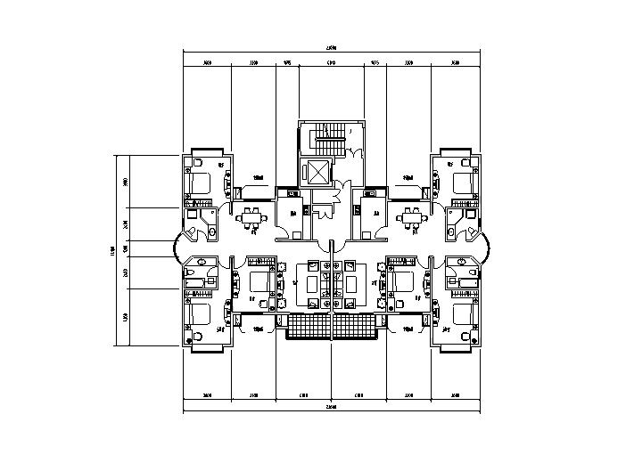 1梯多户户型平面图6