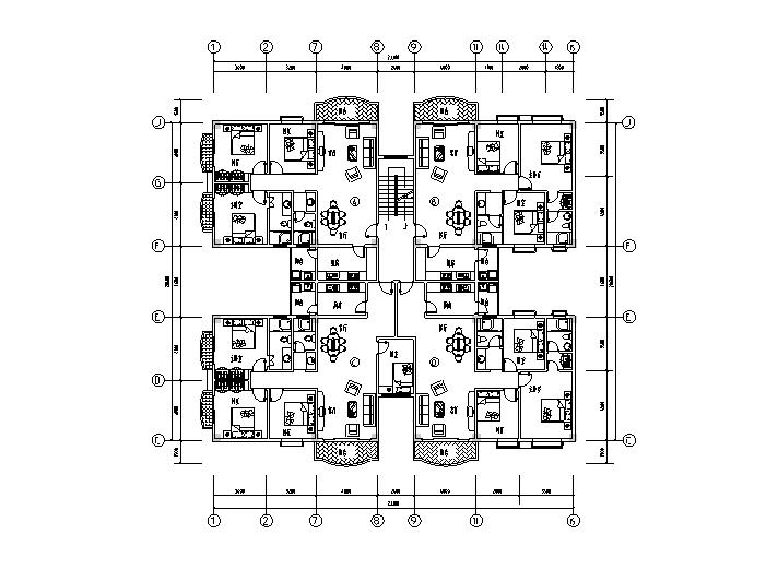 1梯多户户型平面图4